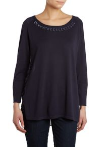 Long sleeve knit with jewel neckline