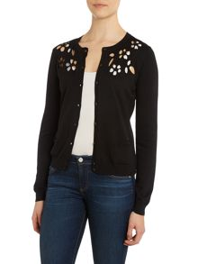 Floral cardigan with cut out detail