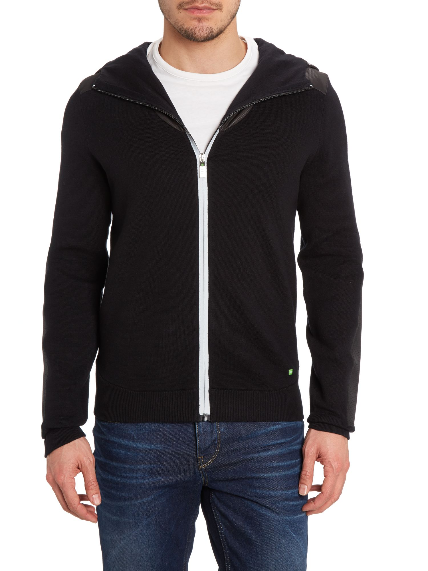 Technical mix hooded jumper