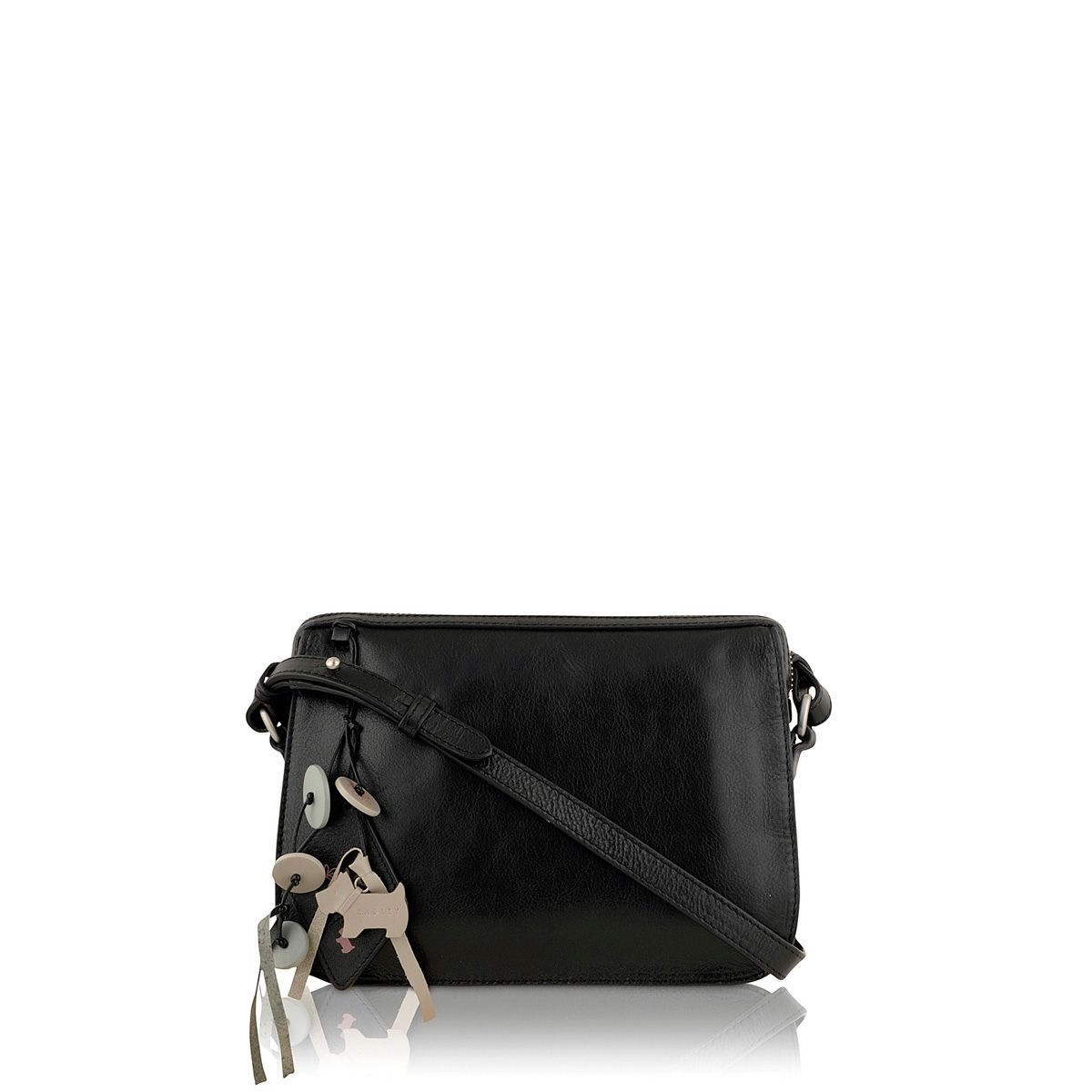 Maiden black small leather cross body bag