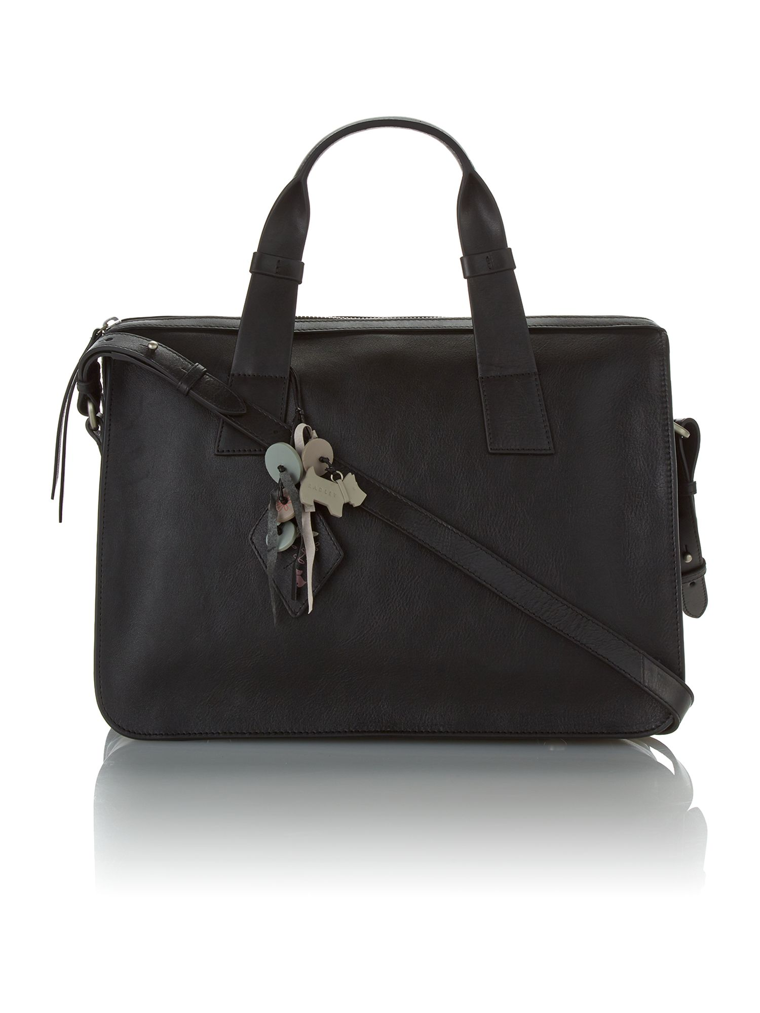 Maiden black large leather cross body tote bag