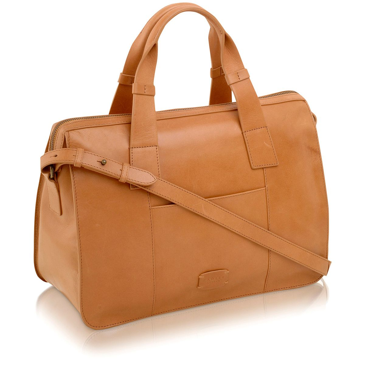 Maiden tan large leather cross body tote bag