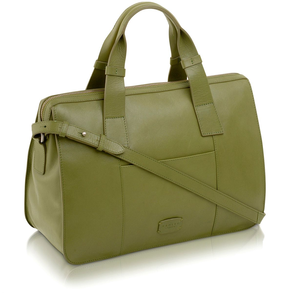 Maiden green large leather cross body tote bag