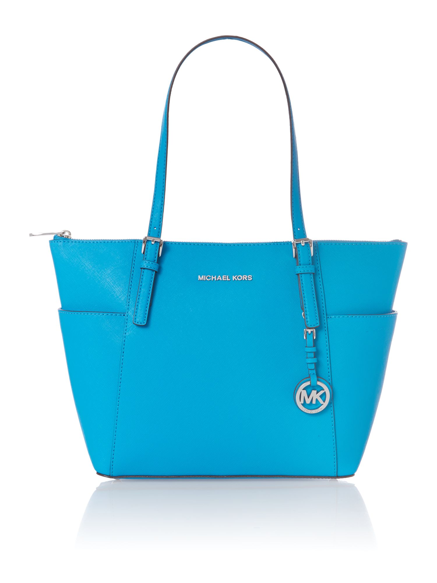 Jet set travel small blue zip top tote bag