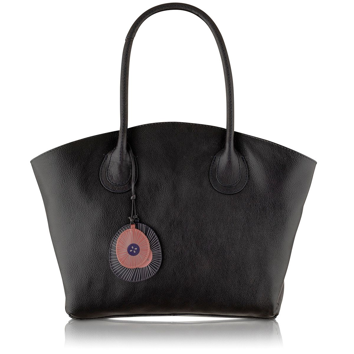 Overton navy large leather tote bag
