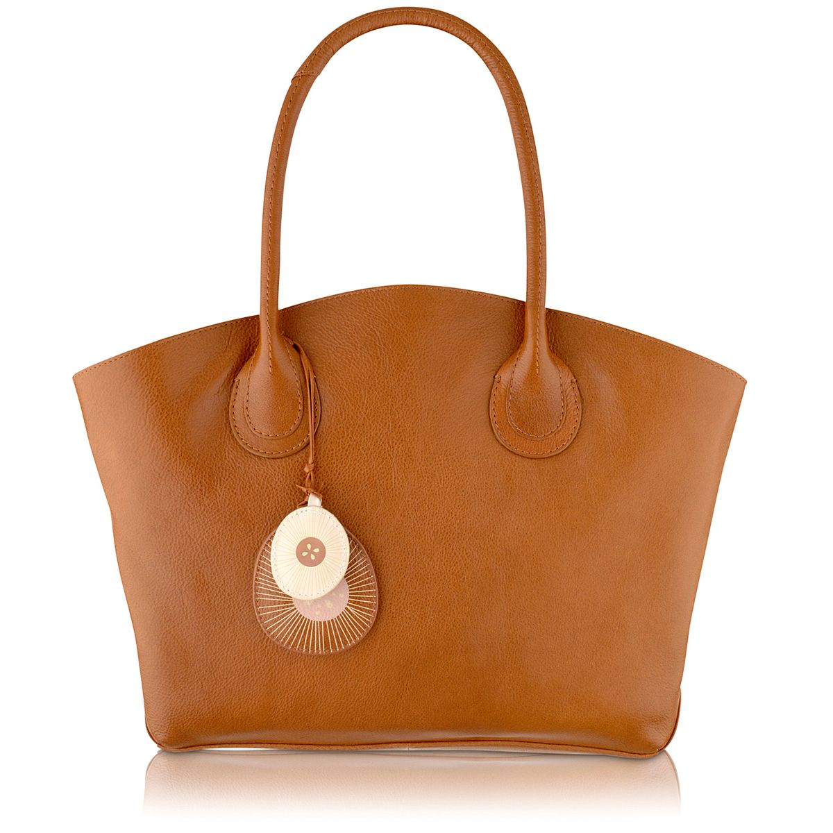 Overton tan large leather tote bag