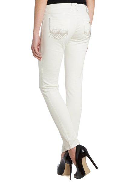 Armani Jeans J28 mid-rise skinny jeans with diamante pockets