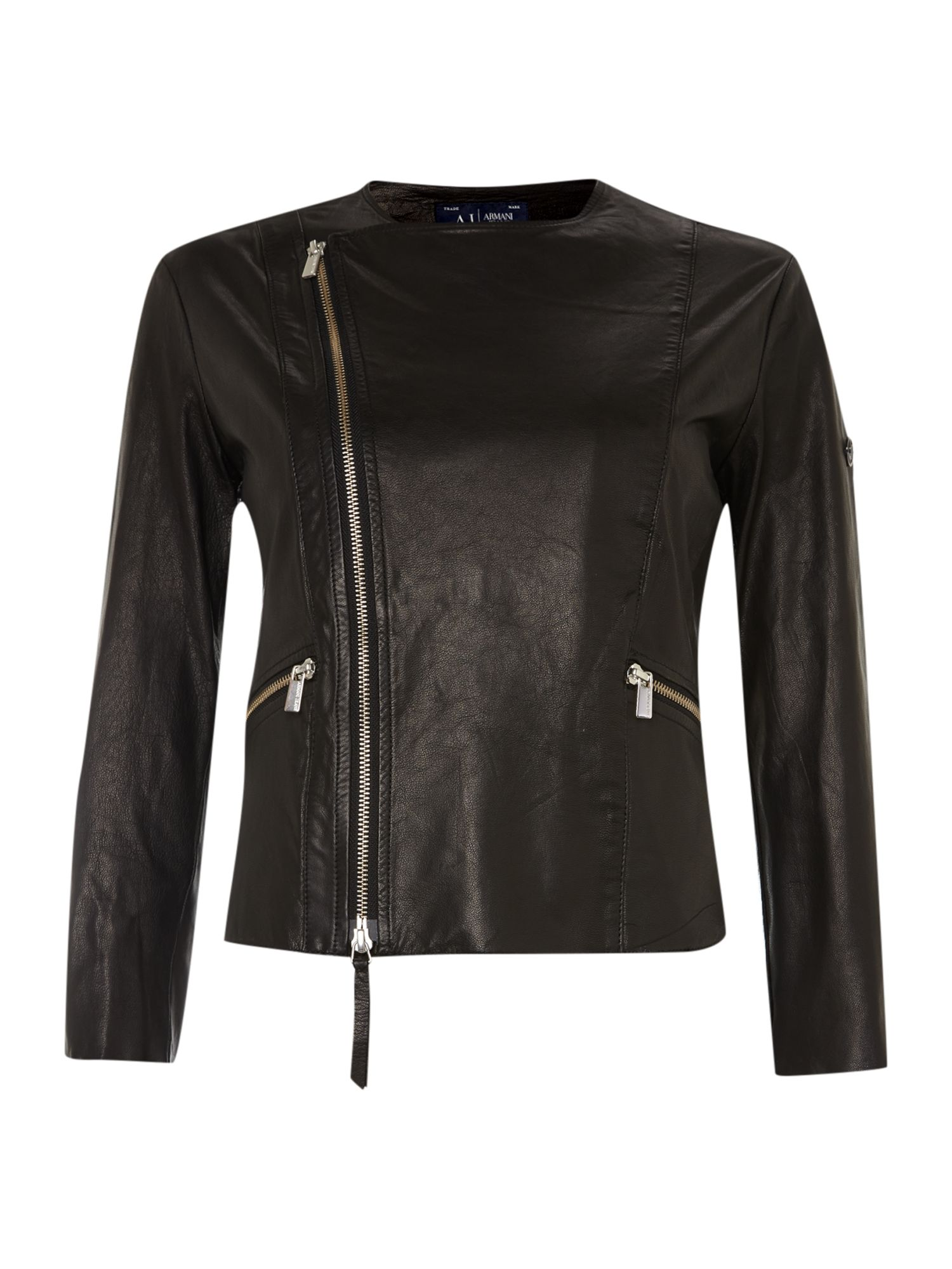 Crop leather biker jacket