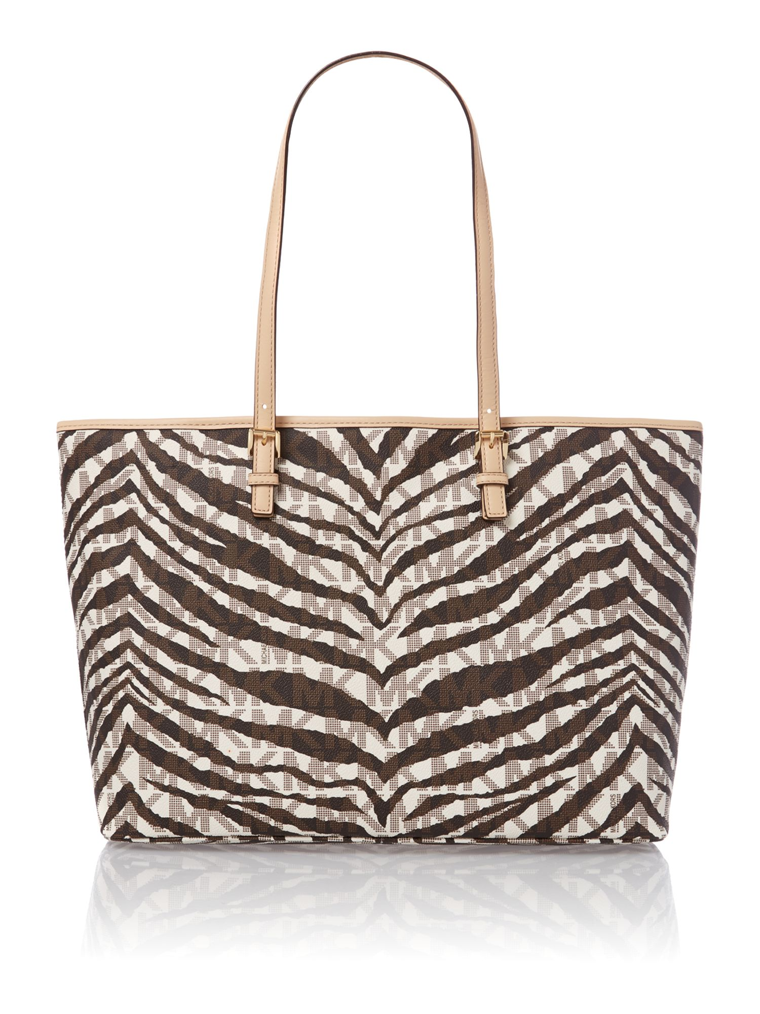 Jet set travel medium tiger print tote bag