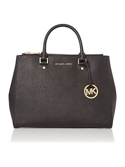 Michael Kors Sutton black double zip tote bag