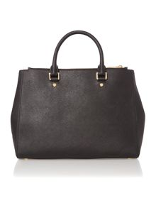 Sutton black double zip tote bag