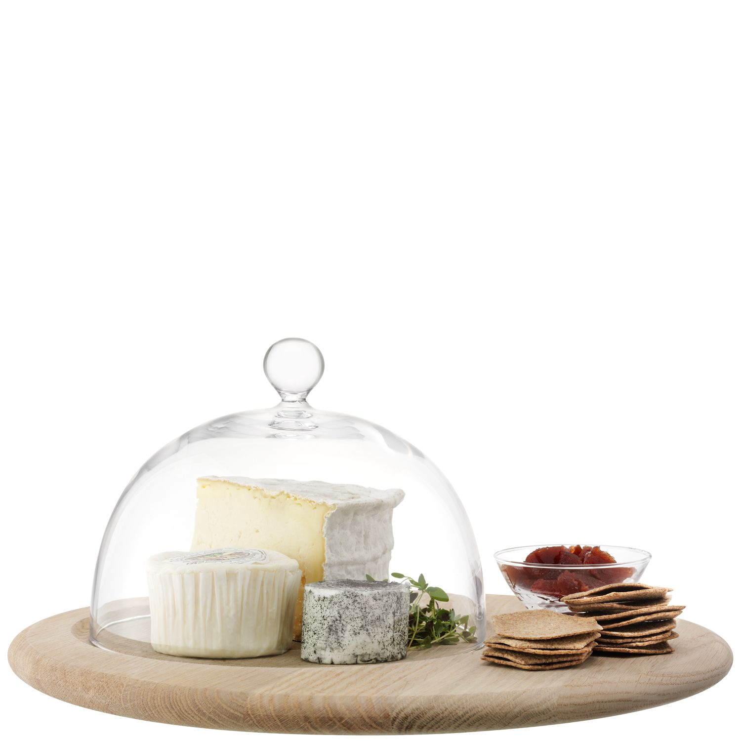 Serve Cheese Set & Oak Base Clear