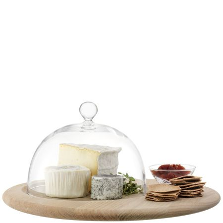 LSA Serve Cheese Set & Oak Base Clear