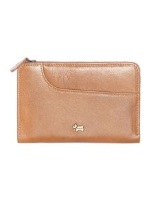 Tan medium zip around purse