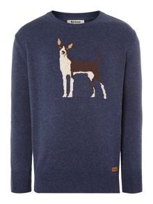Boys dog intarsia knitted jumper