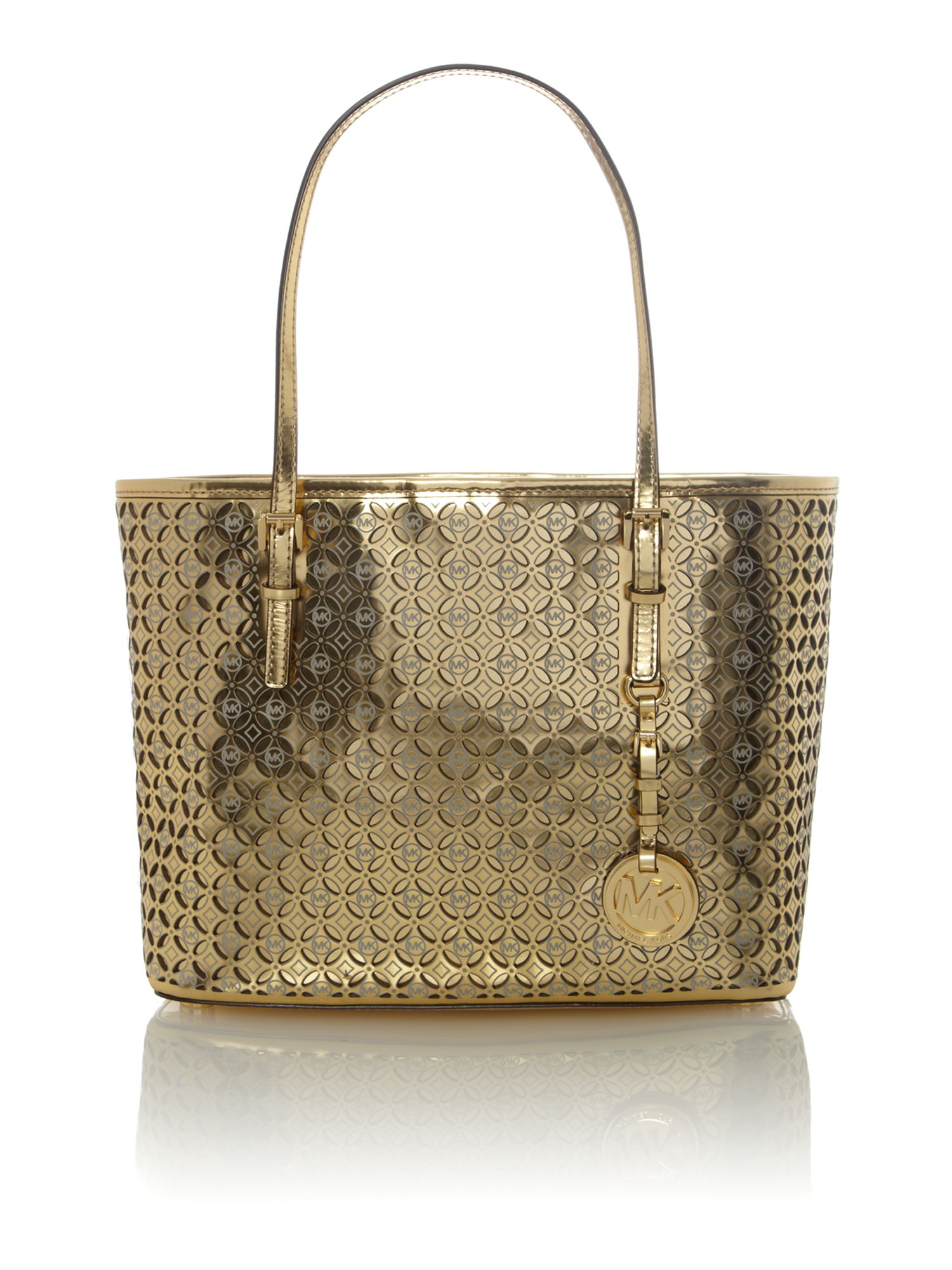 Flower perforated gold small tote bag