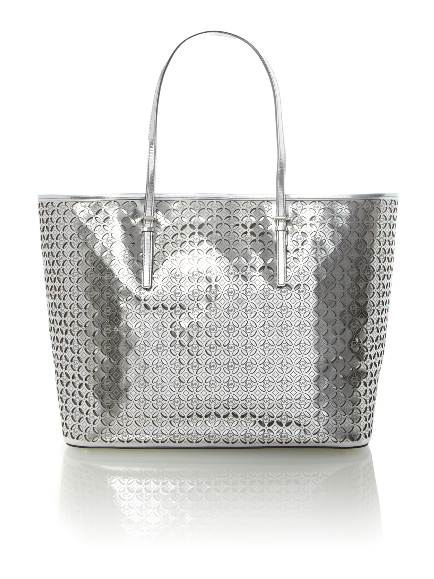 Flower perforated silver small tote bag