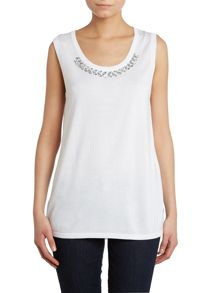 Sleeveless knit with jewel neck detail