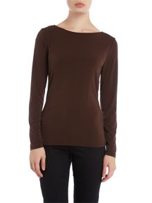 Michael Kors Cowl neck long sleeved top with back chain