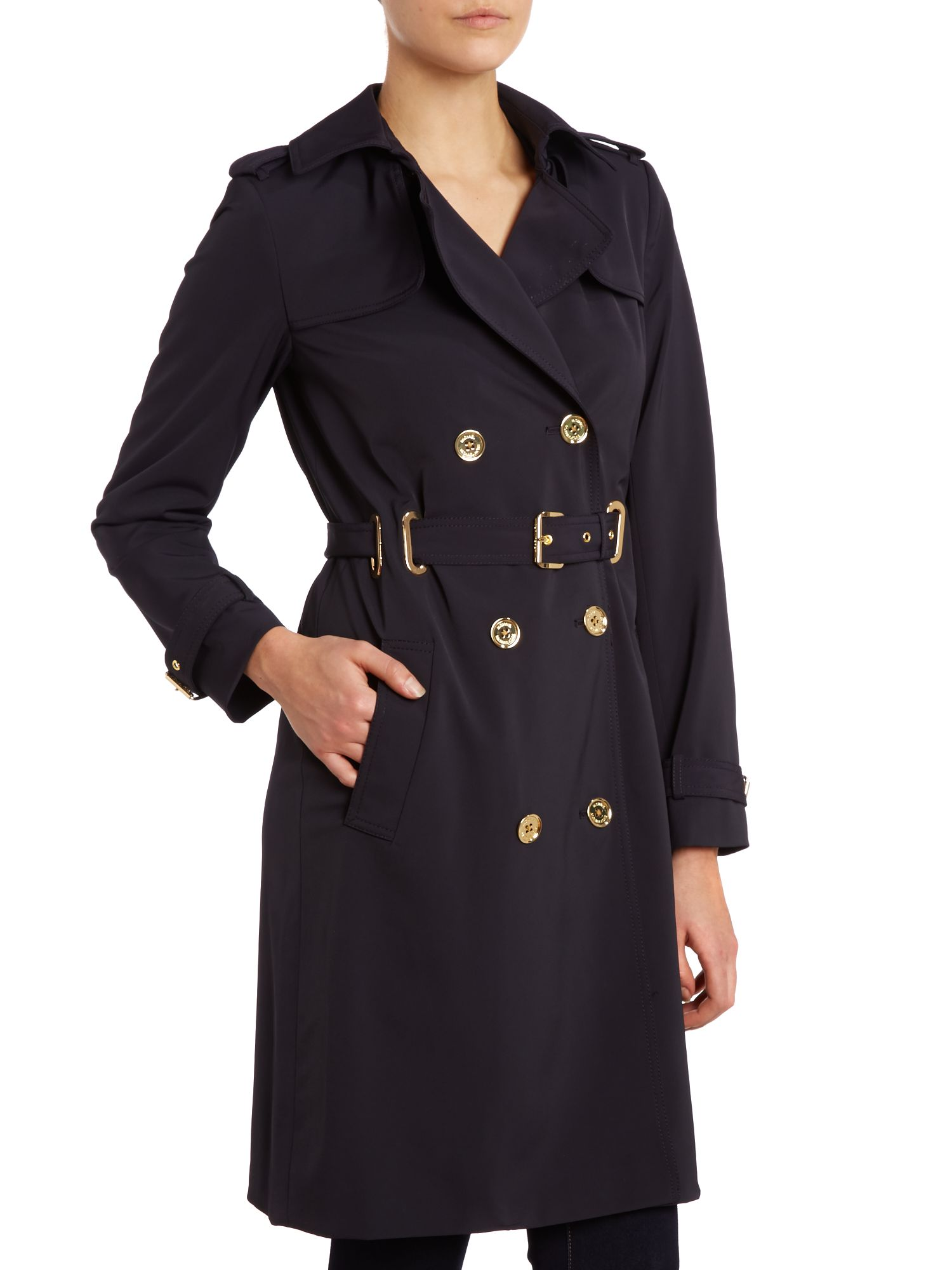 Long sleeved belted trench coat