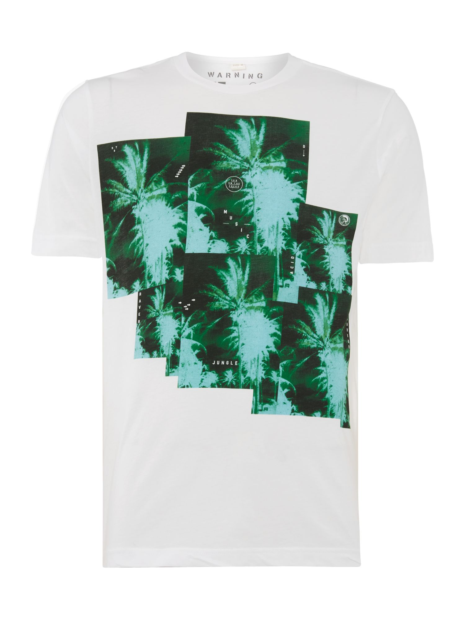 Men's Diesel T-pir palm tree print t shirt, White
