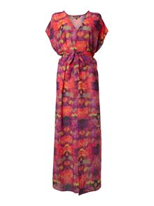 Ornate orchid maxi beach dress