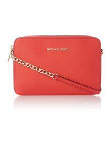 Jet set travel small orange red cross body bag