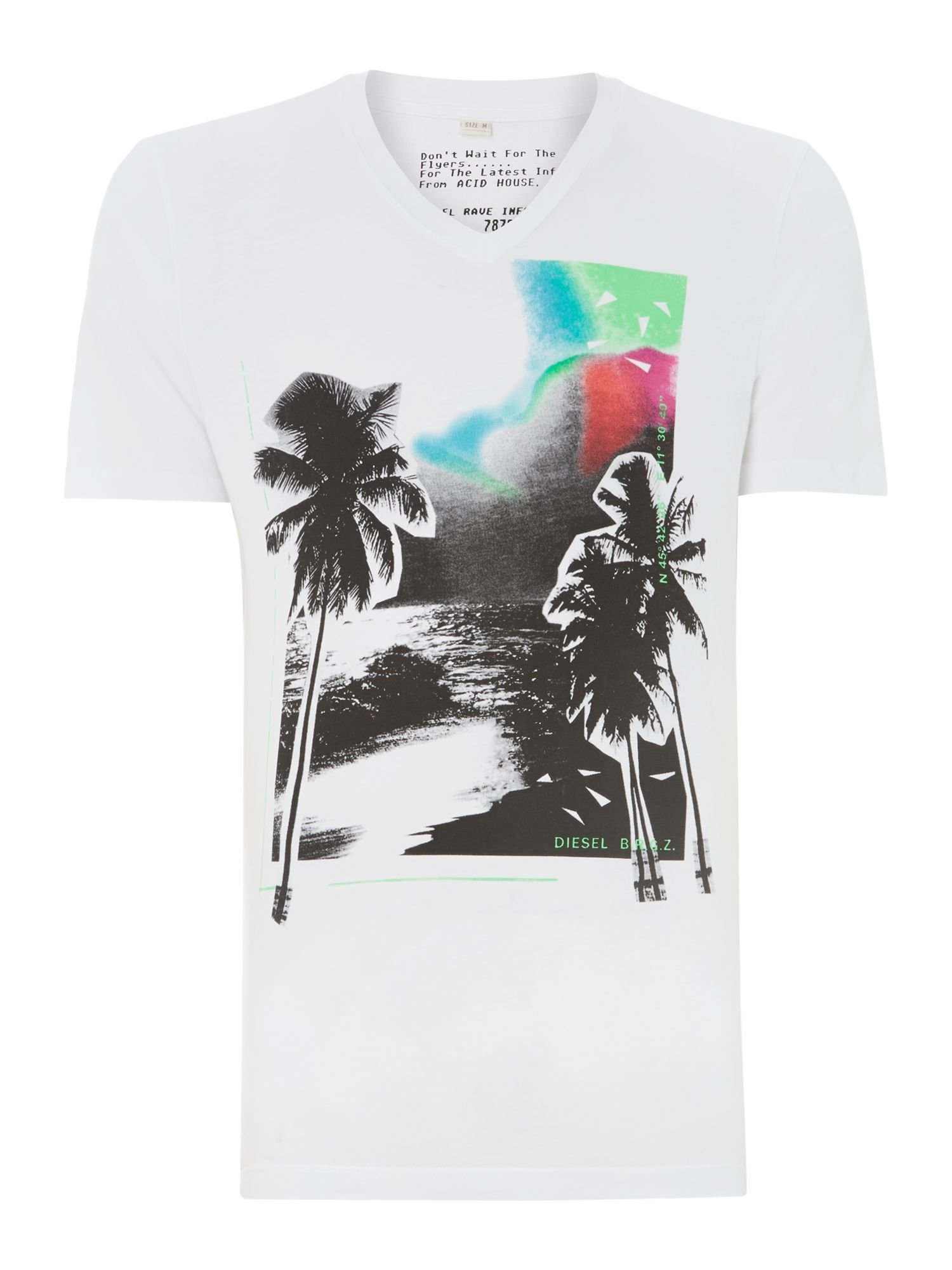 Vee neck palm tree print t shirt