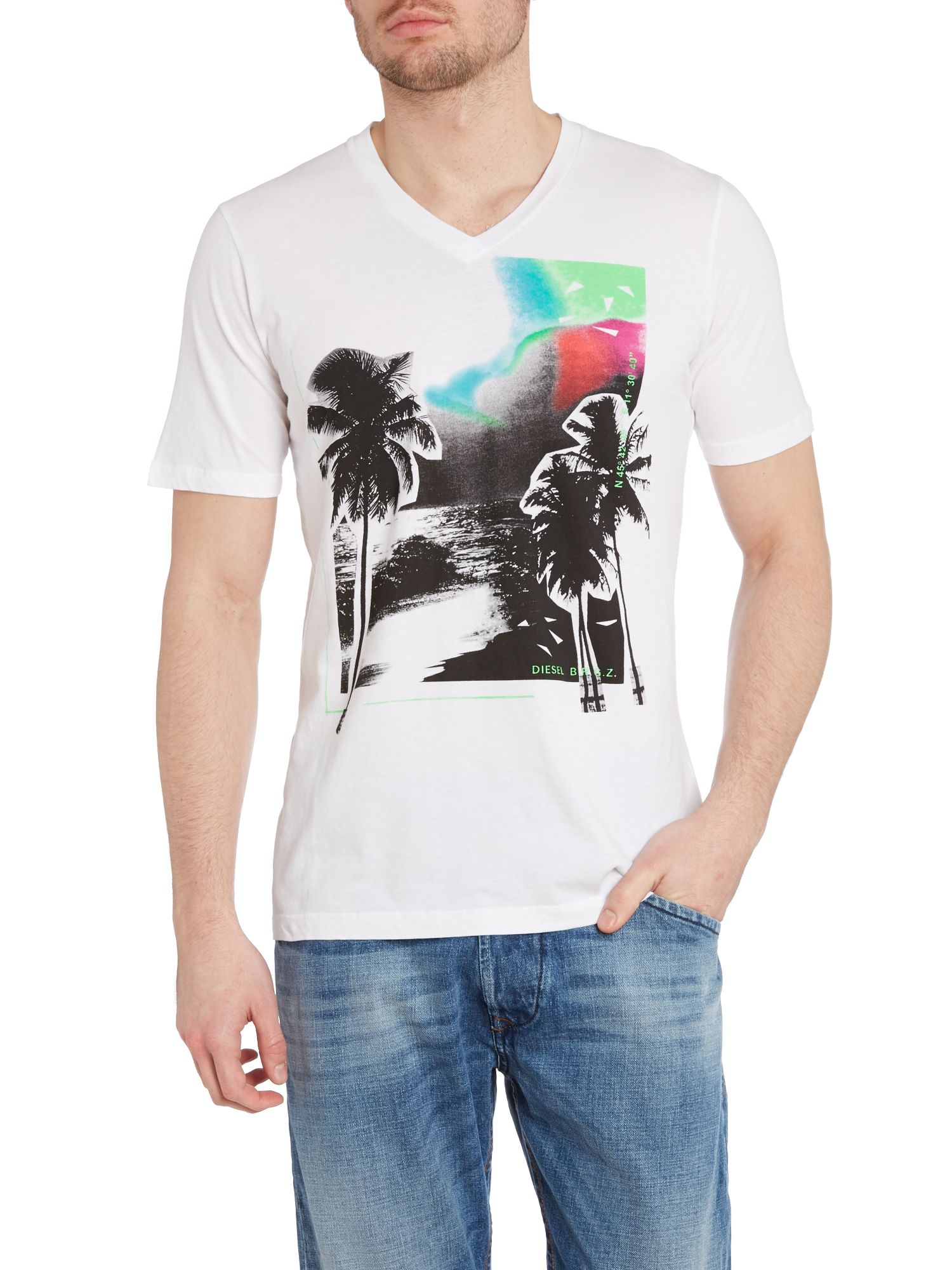 T-wat vee neck palm tree print t shirt