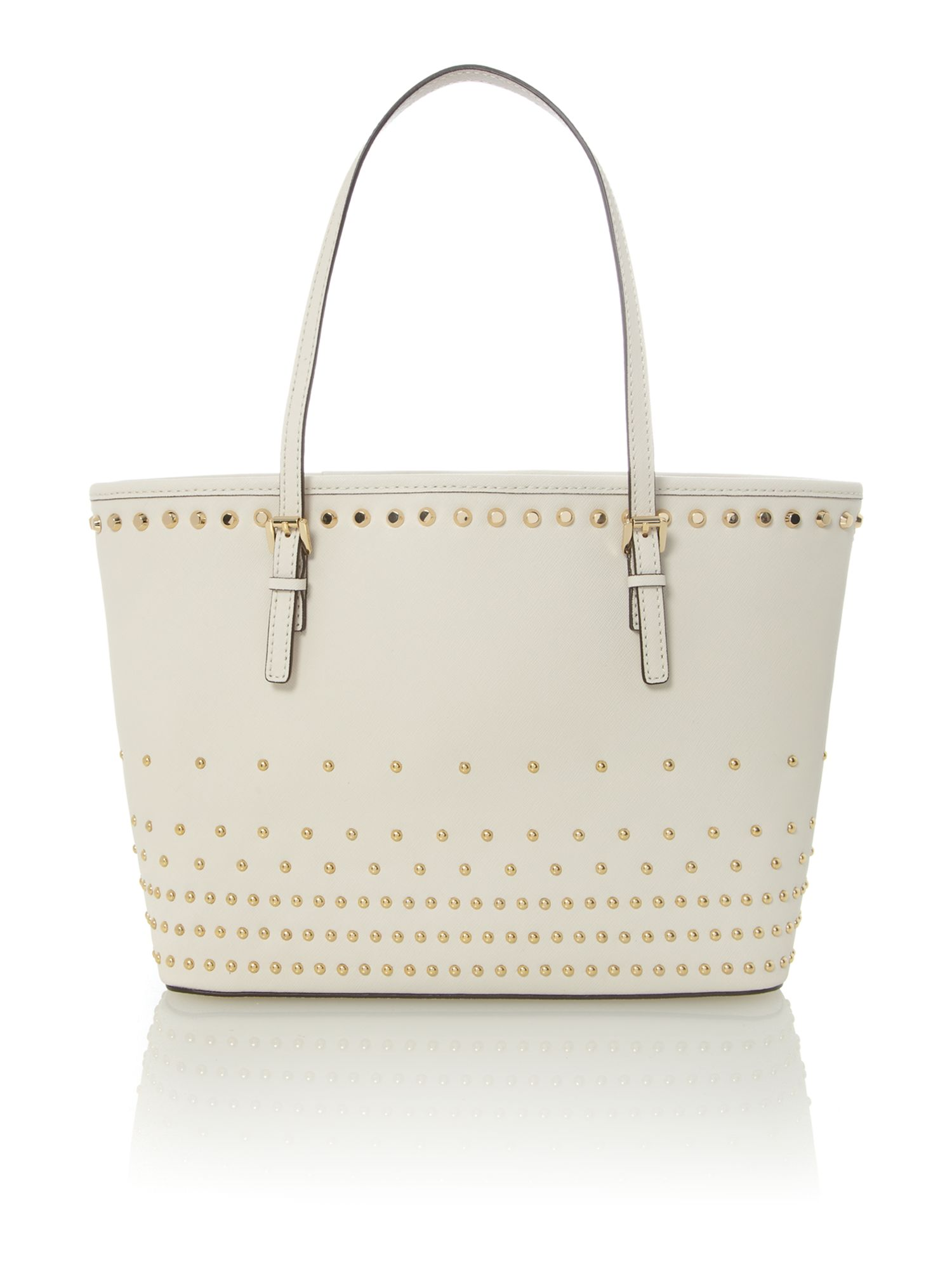 Jet set travel natural stud tote bag