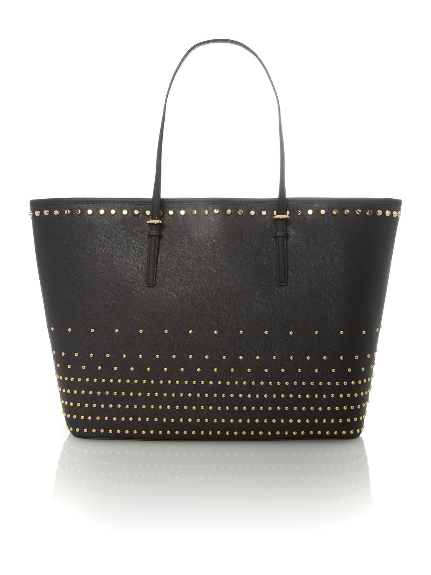 Jet set travel black stud tote bag