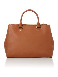 Jet set travel tan double zip tote bag