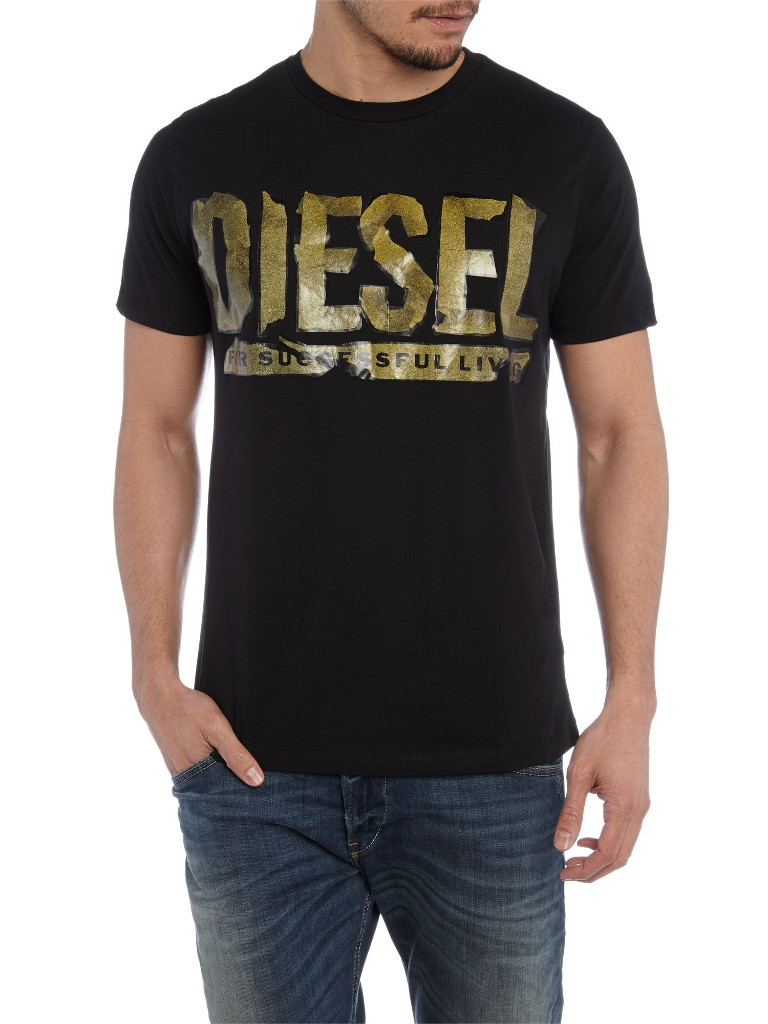 Tape diesel logo printed t shirt