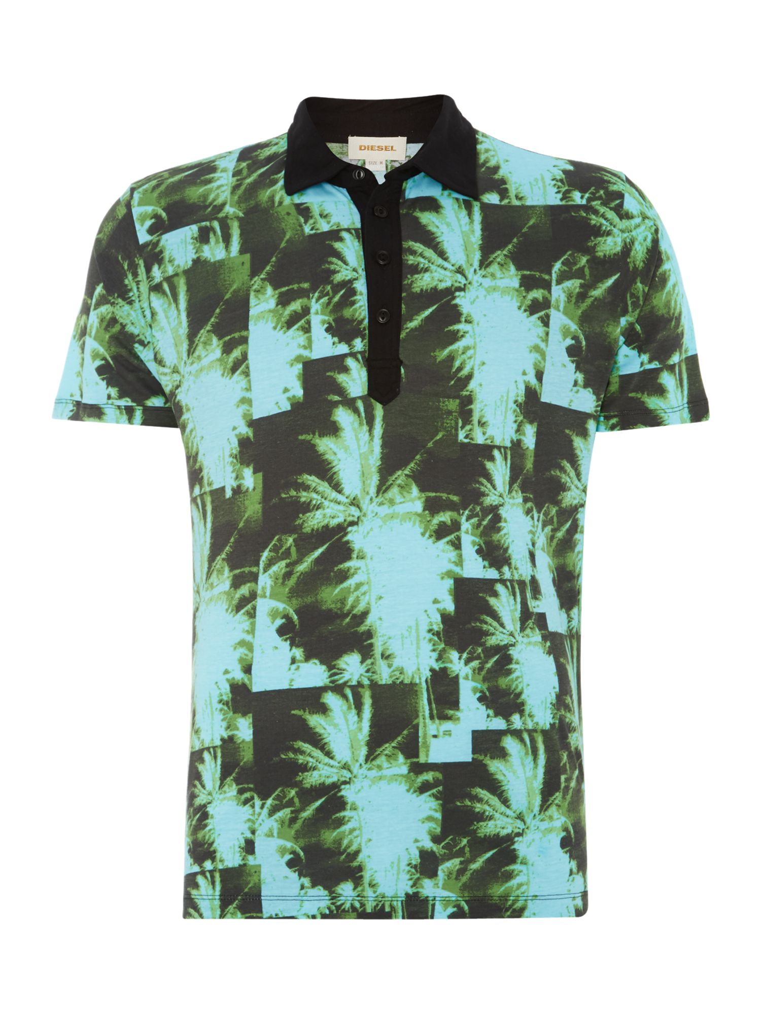 T-jungle palm tree printed polo shirt