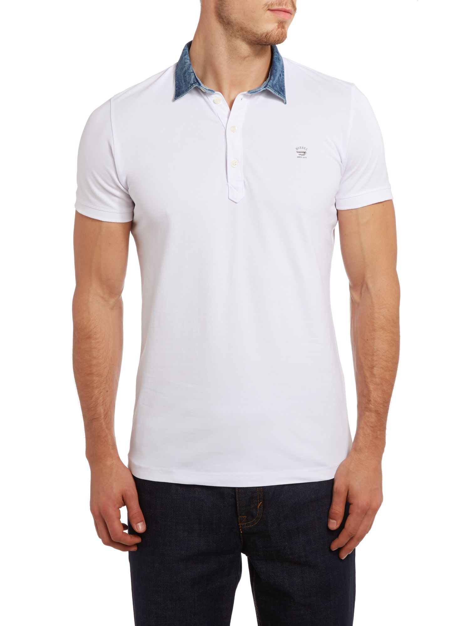 T-brillo denim collar polo shirt