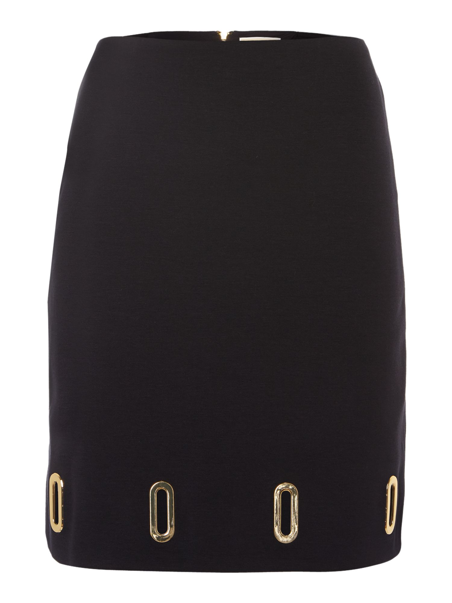 Pencil skirt with gold hardware