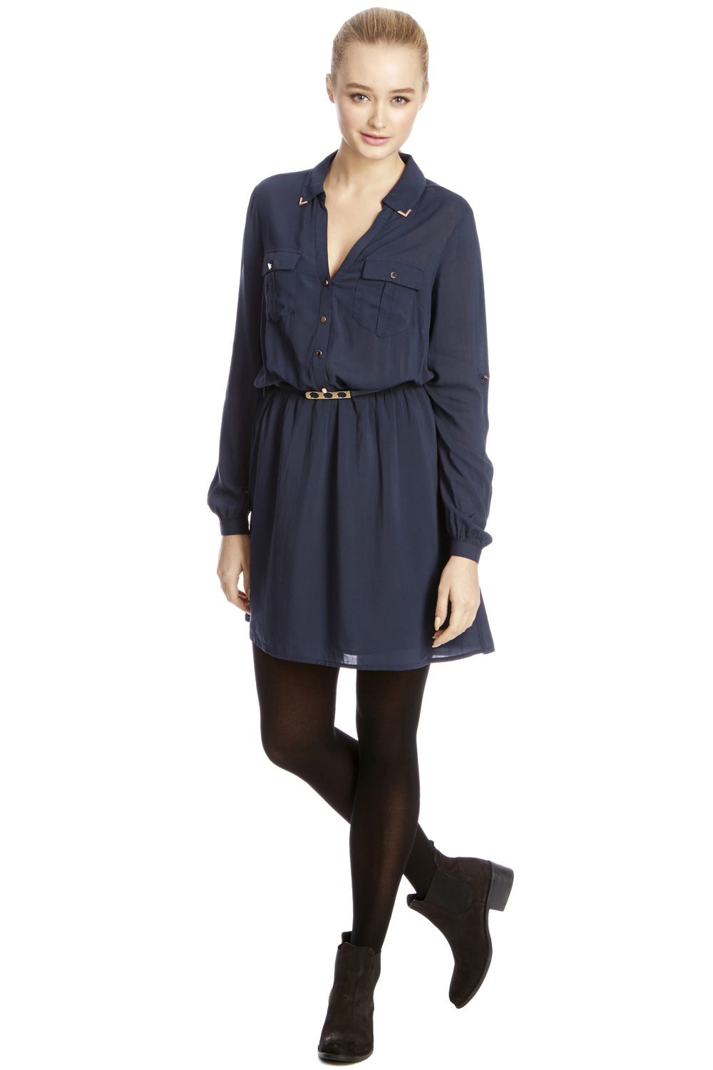 Metal tipped shirt dress