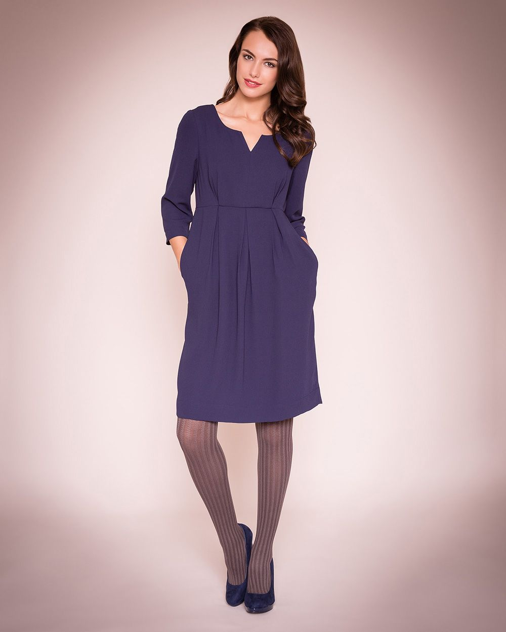 Crepe notch neck dress
