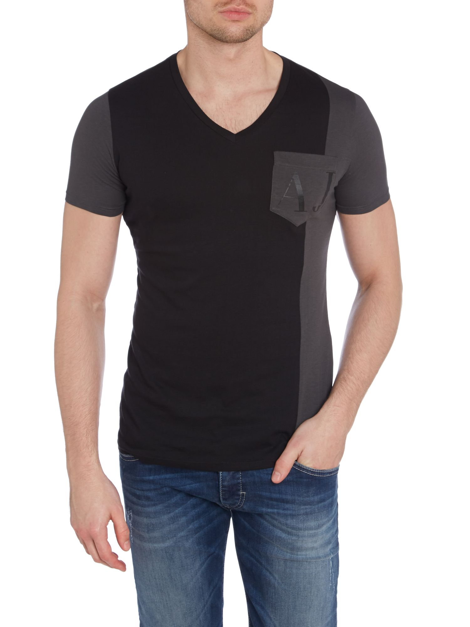 V neck one pocket t-shirt
