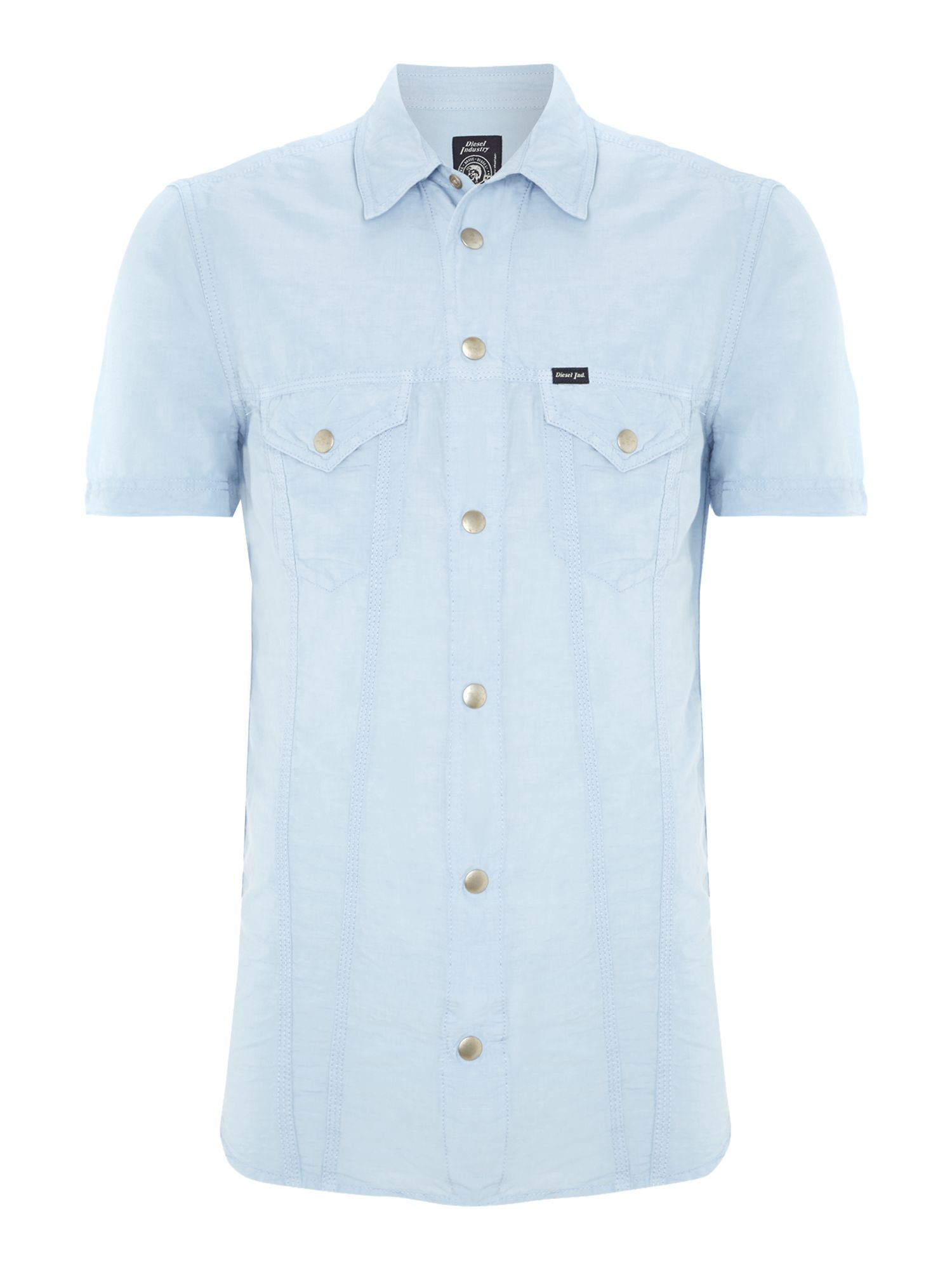 Short sleeved two pocket linen shirt