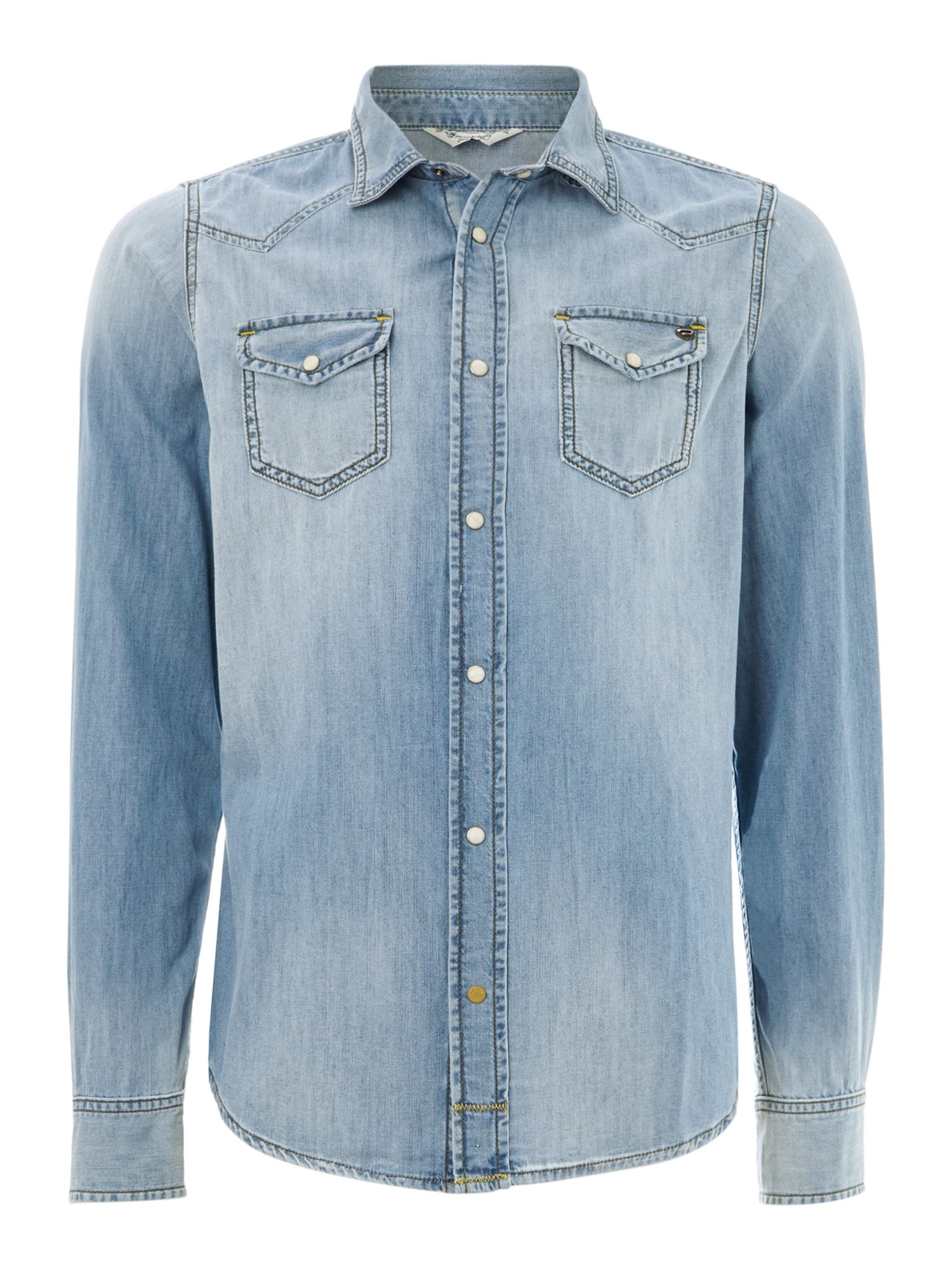 Long sleeve light wash denim shirt