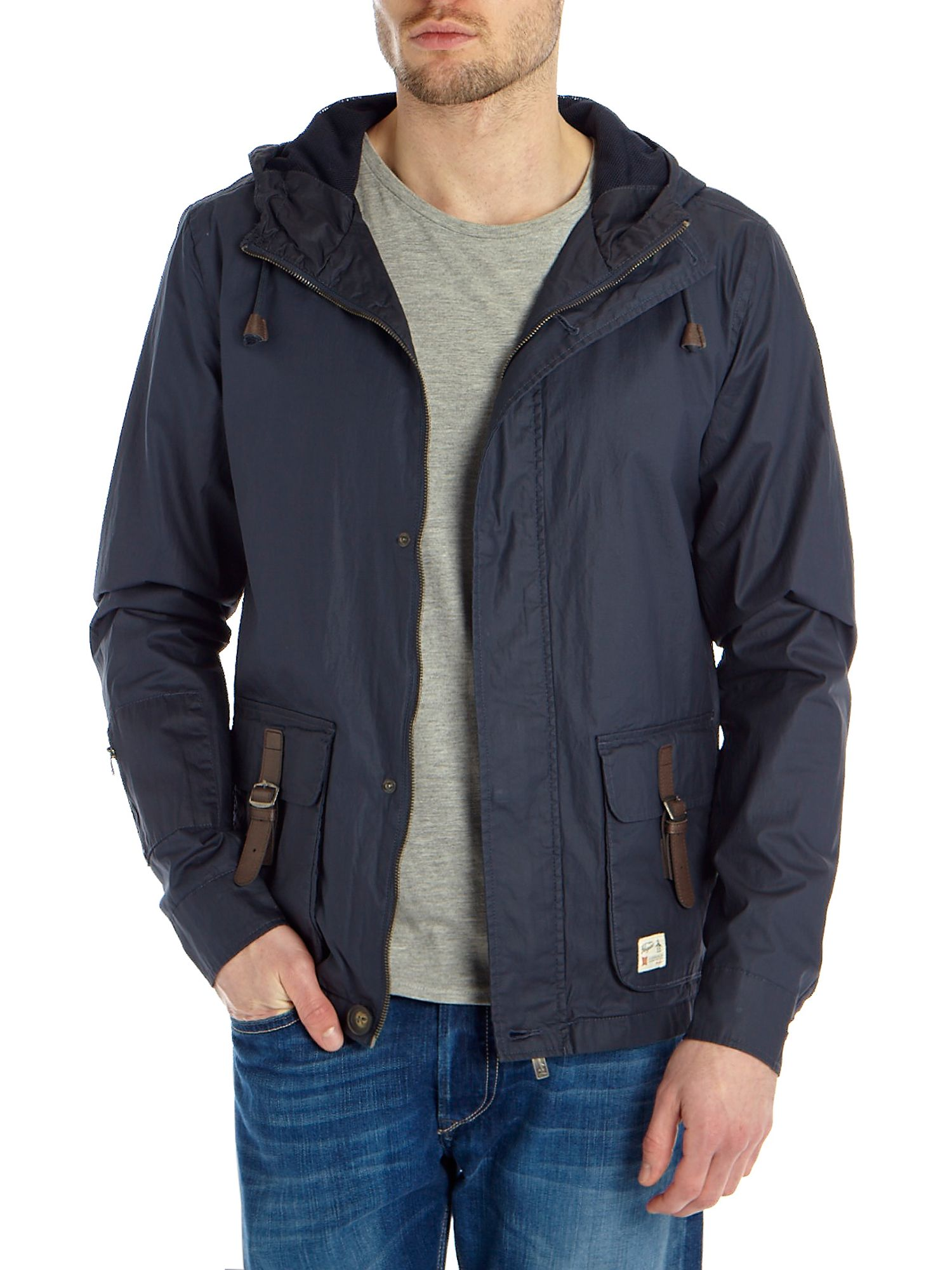 Hooded jacket with buckled pocket detail
