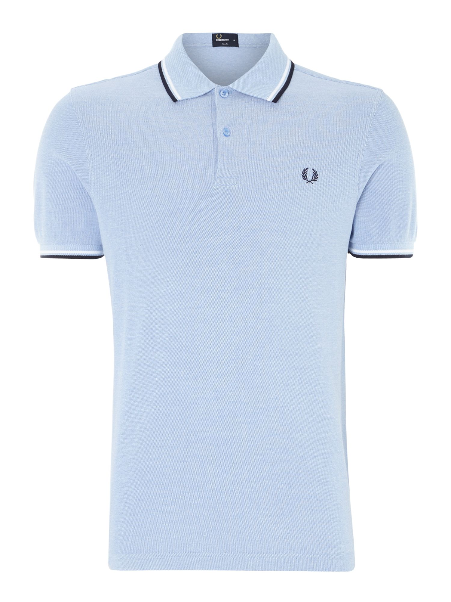 Mens Fred Perry Classic slim fit twin tipped polo shirt Light Blue