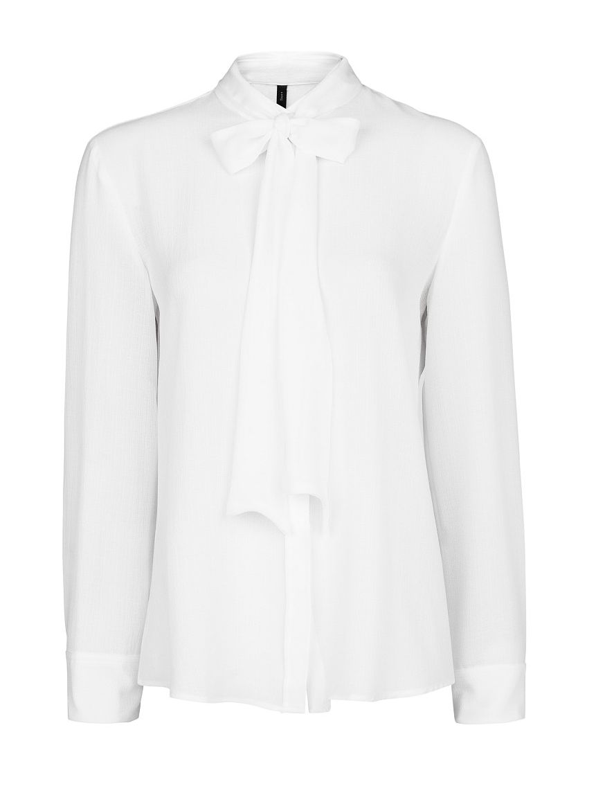 Bow textured chiffon blouse