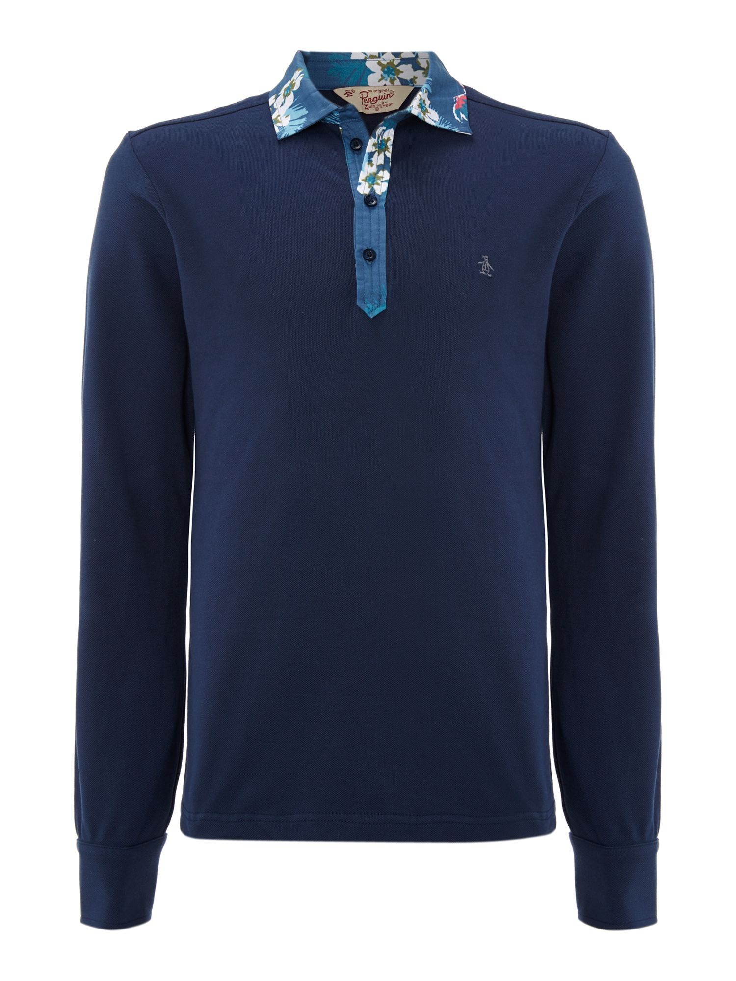 Long sleeve polo shirt with woven print detail