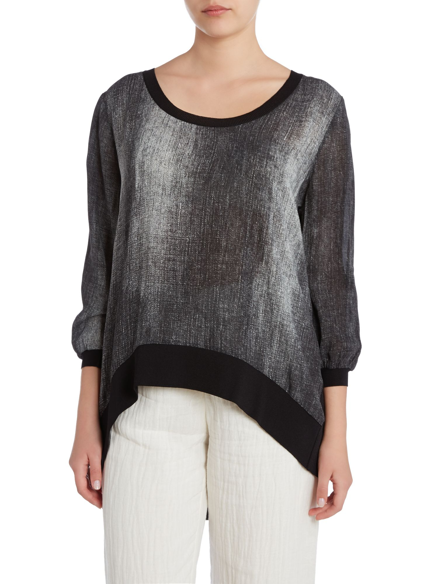 Shadow front high-low hem top with knitted back