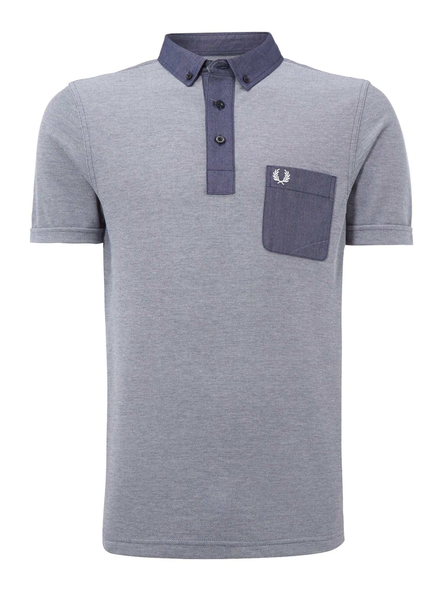 Men&39s Fred Perry Trimmed tonic print polo shirt Dark Blue