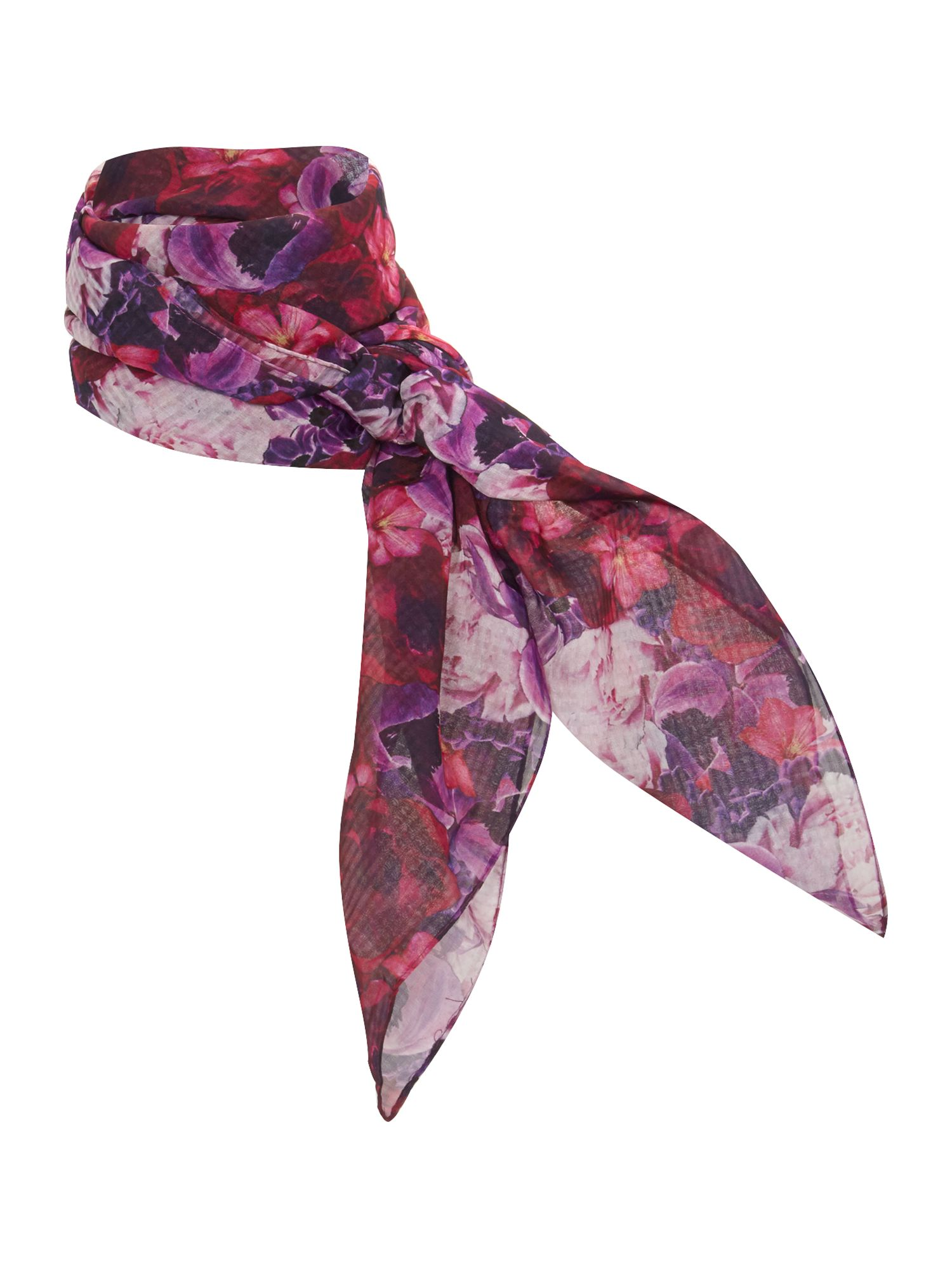 Check floral square scarf