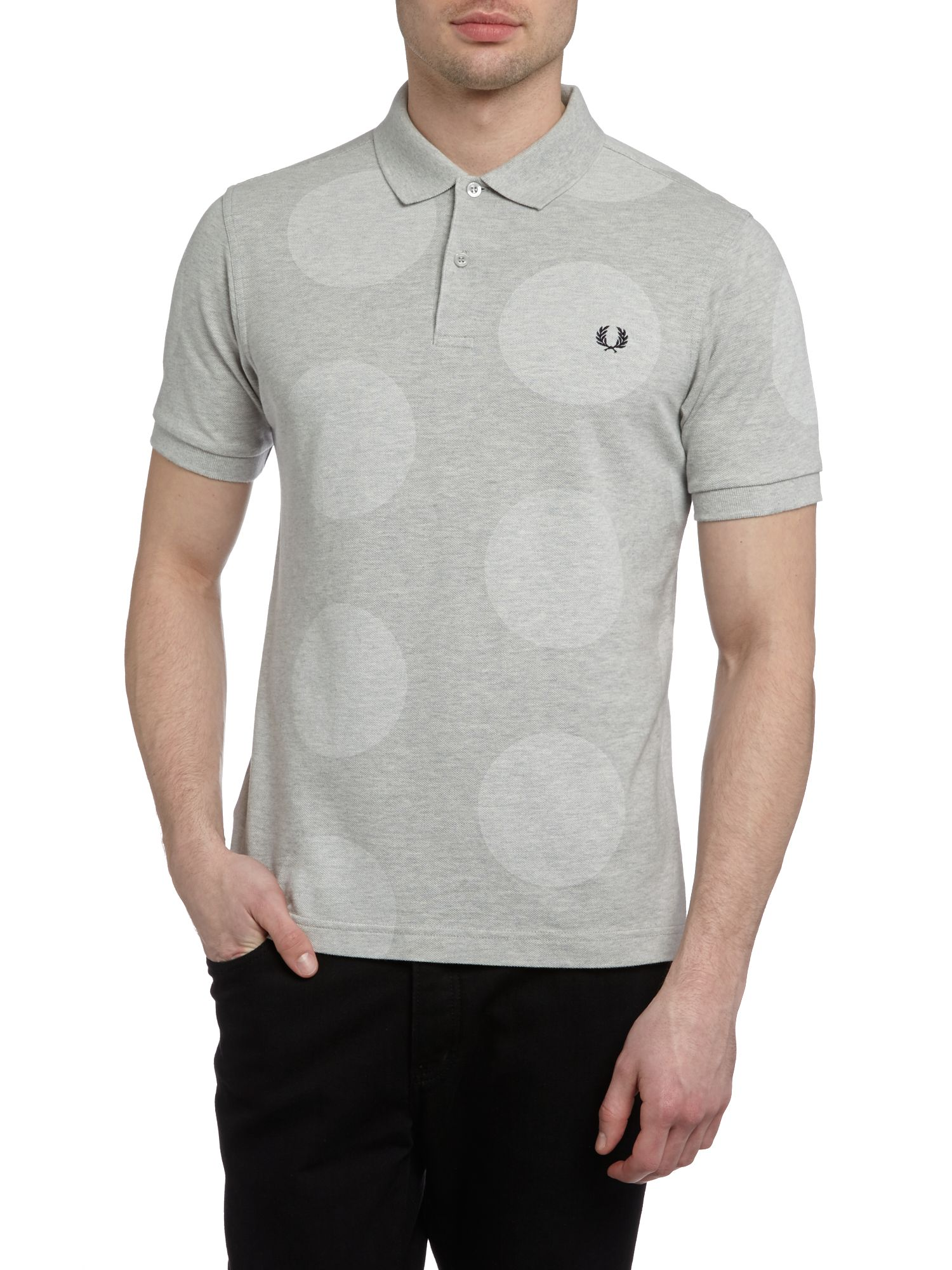 Magnified polka dot polo shirt