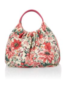 Floral multi coloured hobo bag